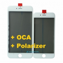Cold Press Front Outer Screen Glass Lens with Frame Bezel + OCA + Polarizer Assembly For iPhone