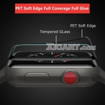 Full Coverage Full Glue HD 3D Tempered GLass Arc Edge For iWatch (PET Soft Edge)